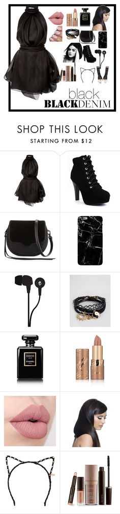 """black denim"" by lilyblack331 ❤ liked on Polyvore featuring Brandon Maxwell, Rebecca Minkoff, Skullcandy, ASOS, Chanel, tarte, Donna Bella Designs, Tasha and Laura Mercier"