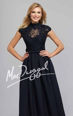 Look ethereal as a goddess in Mac Duggal Evenings 7504C. This graceful evening gown features a high collar neckline with cap sleeves. Heat-set rhinestones accentuates the splendid floral lace that wraps the top over sweetheart lining. The natural waist is trimmed with box pleating and secured with a slim tonal band that cinched the fitted waist. The full length, ball skirt winds down your legs creating movement.