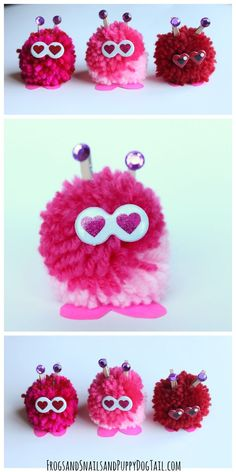 Love bug pom pom kids craft idea. Fun Valentine's Day Activity.