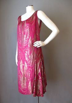 1920s silk jacquard with metal threads dress