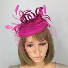 Etsy :: Your place to buy and sell all things handmade Fascinator Hairstyles, Fascinators, Pink Fascinator, Occasion Hats, Thing 1, Pillbox Hat, Wedding Hats, Ladies Day, Hair Band