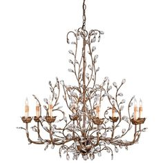 Currey & Company Crystal Bud Chandelier, Large ($3,170) ❤ liked on Polyvore featuring home, lighting, ceiling lights, lights, crystal lamps, crystal ceiling lights, crystal hanging lights, crystal glass lamp and crystal ceiling lamp