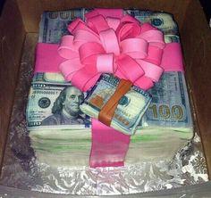 cake and money image Birthday Goals, 16 Birthday Cake, 19th Birthday, Sweet 16 Birthday, Birthday Bash, Girl Birthday, Hotel Birthday Parties, Husband Birthday, Money Cake