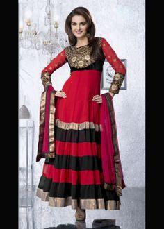 Buy Bollywood Red and Black Anarkali Salwar Suit US$ 64.71 . Shop at - bollywood-ankle-length-anarkali.blogspot.co.uk/2014/03/buy-bollywood-red-and-black-anarkali.html