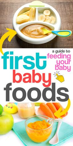 Concerned about baby's first foods? Feeding your baby is one of parenting's top concerns from the very beginning. Is baby eating enough? What should you feed your baby? When do you introduce new foods? This feeding guide will help you decide on t Baby Food Recipes, New Recipes, Baby Food Guide, Easy Recipes, Best First Baby Foods, Healthy Baby Food, Baby Cereal, Baby Food Storage, Baby Puree