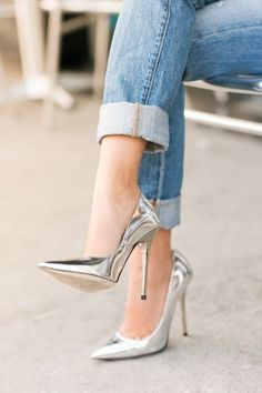 metallic pumps..silver if you ask me...I wish I could still wear she's like this pair.