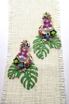 c2df3691e32d Earrings Jungle Flower with Diamante and Enamel