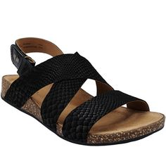 18b4b221f6571 Clarks Artisan Snake Print Suede Triple Strap Sandals - Perri Dunes