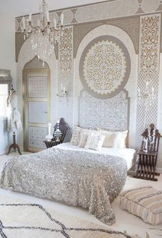 Boho Glam Girls Room Decor and Accent Wall Painted with Palace Trellis Moroccan Wall Stencils - Royal Design Studio Easy Home Decor, Interior, Home, Moroccan Decor, Home Bedroom, Bedroom Design, Moroccan Wall Stencils, Interior Design, Moroccan Bedroom