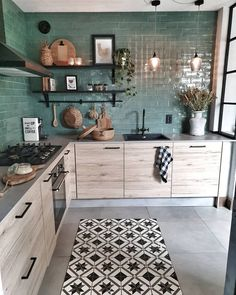 28 Trendy Boho Kitchen Decor Ideas to Give Your Space New Life - Betherelove Home Decor Kitchen, Kitchen Interior, Home Interior Design, Home Kitchens, Interior Decorating, Loft Kitchen, Apartments Decorating, Decorating Bedrooms, Bedroom Decor