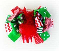 Red and Green Chevron Hair Bow Stripe Print by JuliasBowtique, $7.95