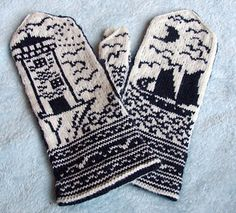 "Ravelry: Moonlit Coast Mittens pattern by Erica Mount A perfect complement to a recent reading of ""Ahab's Wife. Knitted Mittens Pattern, Knit Mittens, Knitted Gloves, Knitting Socks, Hand Knitting, Knitting Projects, Crochet Projects, Knitting Tutorials, Knitting Stitches"