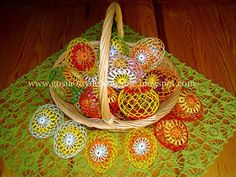 Przyszedł czas na pokazanie tegorocznych jajeczek.Jajeczka wydziergałam w wiosennych kolorach.               A na koniec małe koszyczki-mise...