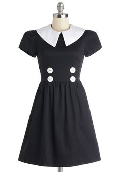 Teach and Every Day Dress - Mid-length, Cotton, Woven, Black, Buttons, Casual, A-line, Short Sleeves, Better, White, Scholastic/Collegiate