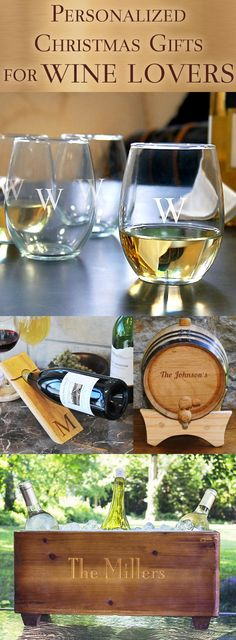 Keep the wine connoisseur on your gift list in the holiday spirit this Christmas with our favorite gifts for wine lovers. From stemless glasses laser engraved with a single initial to personalized rust wood trough wine chillers, this unique selection of wine related gifts have been hand-picked to please even the pickiest wine drinker. These gifts and more can be ordered at https://myweddingreceptionideas.com/personalized_holiday_wine_gift_bags_boxes.asp