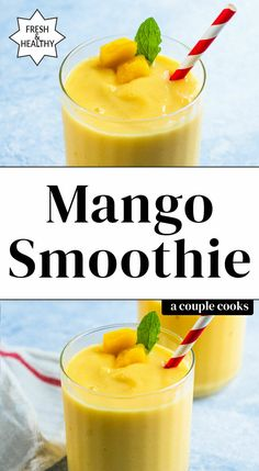 Here's how to make the best mango smoothie: it's got the perfect sweet flavor and creamy texture! We dare you not to take another sip. #mango #mangosmoothie #mangorecipe #bestmangosmoothie Mango Spinach Smoothie, Honeydew Smoothie, Mango Smoothie Healthy, Banana Protein Smoothie, Mango Pineapple Smoothie, Mango Smoothie Recipes, Strawberry Banana Smoothie, Mango Recipes, Smoothie Bowl