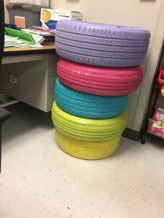 Learn how to create colorful tires for your classroom! I lay out how to do it step by step and it's now one of the most popular things to sit on in my classroom for flexible seating! Outdoor Classroom, New Classroom, Classroom Setup, Classroom Design, Classroom Organization, Classroom Management, Primary Classroom, Behavior Management, Classroom Activities