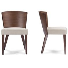 Baxton Studio Sparrow Brown Wood and Khaki Fabric Modern Dining Chair (Set of 2)