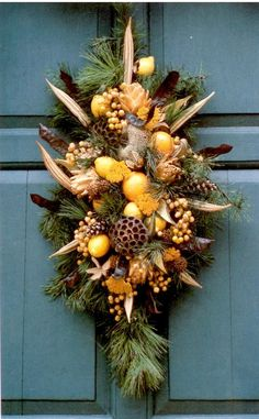 Williamsburg Plaque Featuring Fruit and Natural Materials - Consists of magnolia leaves, twigs of white pine, pods, fruit and more. Christmas Swags, Christmas Crafts, Christmas Decorations, Holiday Decor, Autumn Crafts, Christmas 2017, Wreath Crafts, Decor Crafts, Okra Crafts