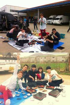 'Rooftop Prince' cast members enjoy a casual lunch break outdoors #allkpop
