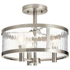 Kichler Lighting Marita 13-in W Brushed Nickel Clear Glass Semi-Flush Mount Light
