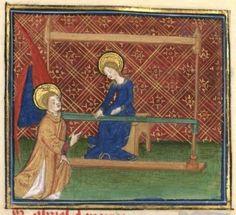 Medieval image of tablet weaving loom