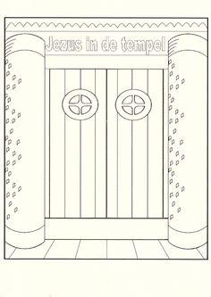 twaalfjarige Jezus in de tempel. Knip of prik de deuren open en plak de kleurplaat erachter.