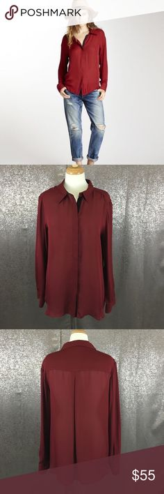 Michael Stars burgundy red silk button down In excellent preowned condition Michael Stars Tops Button Down Shirts