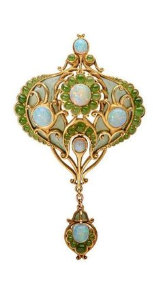 Marcus & Co. | In the Persian style, 18k gold arabesque and drop set with opal and chrysoprase floriforms on green translucent enamel ground, detachable brooch findings and hinged bail for pendant wear, ca. 1910.