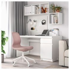 HATTEFJÄLL Office chair - Gunnared light brown-pink - IKEA This could be your new accent color for the office.beautiful with blue wallpaper.add some wall art with dark blue, grey and pink :-) Home Office Chairs, Home Office Space, Home Office Design, Home Office Decor, Home Decor, Office Room Ideas, Ikea Office Chair, Small Office Chair, Home Office Shelves
