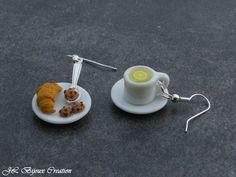 Boucle d'oreille assiette de viennoiserie et thé citron en fimo Argent 925 : Boucles d'oreille par jl-bijoux-creation