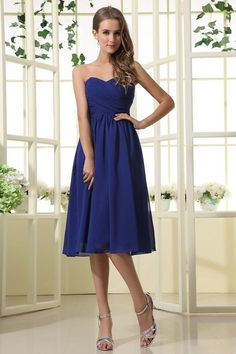 2013 Bridesmaid Dresses A Line Sweetheart Knee Length Chiffon Ruffles