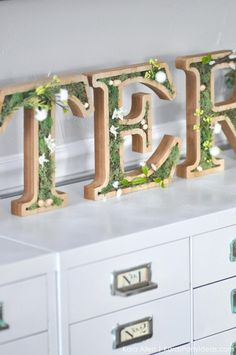 DIY moss wooden Easter letters for your home via Kara's Party Ideas | Kara Allen | KarasPartyIdeas.com #michaelsmakers 8