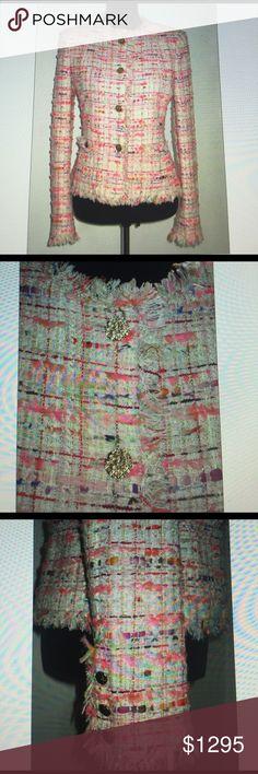 "Chanel Lesage Tweed Fringe Jacket FR38 S 4 Chanel -2004P Exquisite Condition 30%viscose/20%cotton/15%silk/20%nylon/10%wool/15%metallic/+95%silk /5%spandex lining evils chain @ hemline/ gold metallic highlights/Apprx Measurents:Length-23""Bust-38""Waist-38""Sleeve-25.5""Shlders-16"" CHANEL Jackets & Coats Blazers"