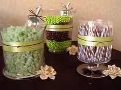 candy buffet - I like how they wrapped these bowls.