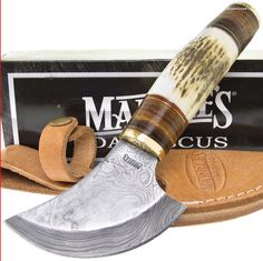 Marbles Damascus Tundra Ulu Knife Stacked Wood & Stag Skinner
