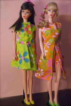 Barbie - Mod Era Barbies-my first,  the one on the right. The dog ate her feet off and I pierced her ears and cut her hair