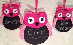 Set 3 OWL CHALKBOARD Girl Bedroom  Party Decoration Sign Plaque Tag Gift Favors