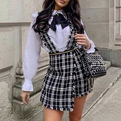 Plaid High Waist Tweed Skort Skirt Women Slim Button Fringe Strap Mini Skirt Tassel Party Club Skirt Color Black Size S Girly Outfits, Cute Casual Outfits, Stylish Outfits, Skirt Outfits, Look Fashion, Skirt Fashion, Fashion Outfits, Womens Fashion, Plaid Fashion