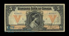 Canada, Standard Bank of Canada, 5 dollars : January 1919 Money Notes, Money Book, Ontario City, Money Paper, Bank Account Balance, Virtual Travel, January 2, Old Coins, Stamps