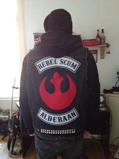 Rebel Scum Alderaan Biker jacket Li Miera Kyle Hopwood http://khopwood.tumblr.com/post/33561546039/star-wars-sons-of-anarchy-biker-vest-been