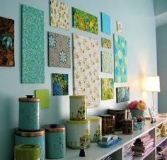 I love a variety of colors and patterns and this is so cute and cheap!...done! Covered canvas in fabric and used on a gallery wall arrangement looks good.