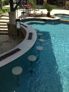 pool im garten 33 Mega-Impressive swim-up pool bar - Luxury Swimming Pools, Luxury Pools, Swimming Pools Backyard, Dream Pools, Swimming Pool Designs, Inground Pool Designs, Indoor Pools, Pool Bar, Pool With Bar