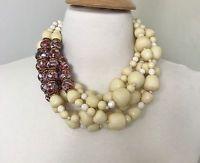 Necklace in The Style Of Angela Caputi Multi Strand Acrylic Beads & Rhinestone