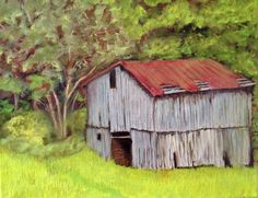 "Spillcorn barn, Madison County, 2016, oil on canvas, 12"" x 14"""