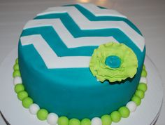 Teal Lime Chevron Cake ~ NutMeg Confections
