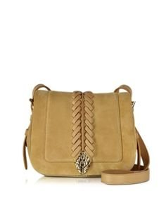 Serpent Tan Suede Small Flap Shoulder Bag