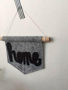 Mini Banner HOME 5 x 5 inch Felt Wall by WaxingGibbousStudio
