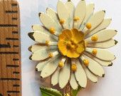 #Vintage #Costume #Jewelry #White and #Yellow #Flower #Brooch