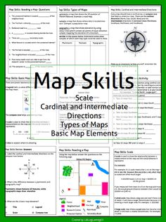 This package contains a variety of handouts, worksheets, a lesson idea, and an activity to help teach students map skills such as scale, cardinal and intermediate directions, types of maps (planimetric, thematic, topographic), and basic map elements (legend, title etc.) http://www.teacherspayteachers.com/Product/Map-Skills-Package-996835
